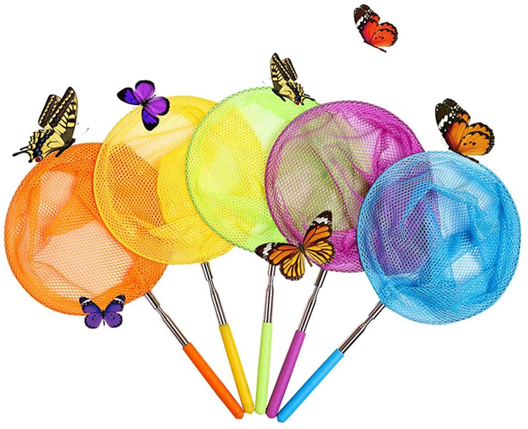 Zhihui Telescopic Butterfly Fishing Nets Great for Catching Insects Bugs Fish Caterpillar Ladybird Nets Outdoor Tools Colorful Extendable 34