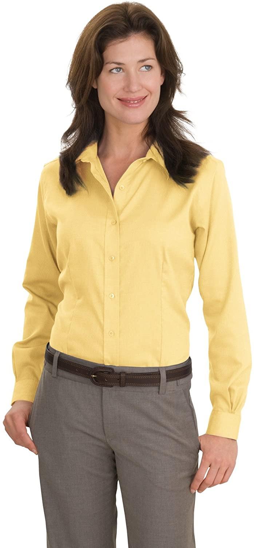 Red House Women's Nailhead Non Iron Button Down Shirt M Yellow