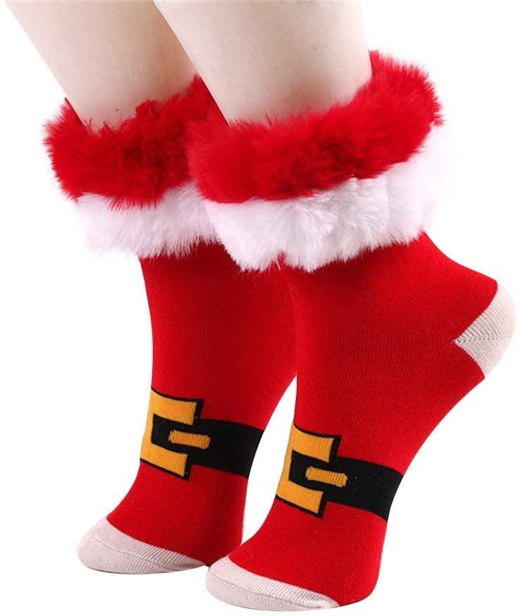 BXzhiri Women Fuzzy Christmas Socks Thermal Cozy Warm Slipper Socks Soft Warm Thick Lovely Socks