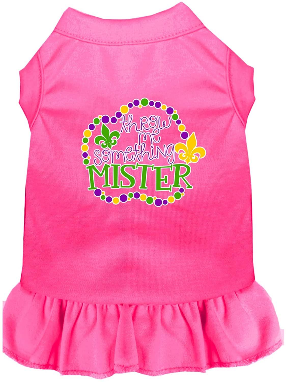 Mirage Pet Product Throw me Something Screen Print Mardi Gras Dog Dress Bright Pink Med