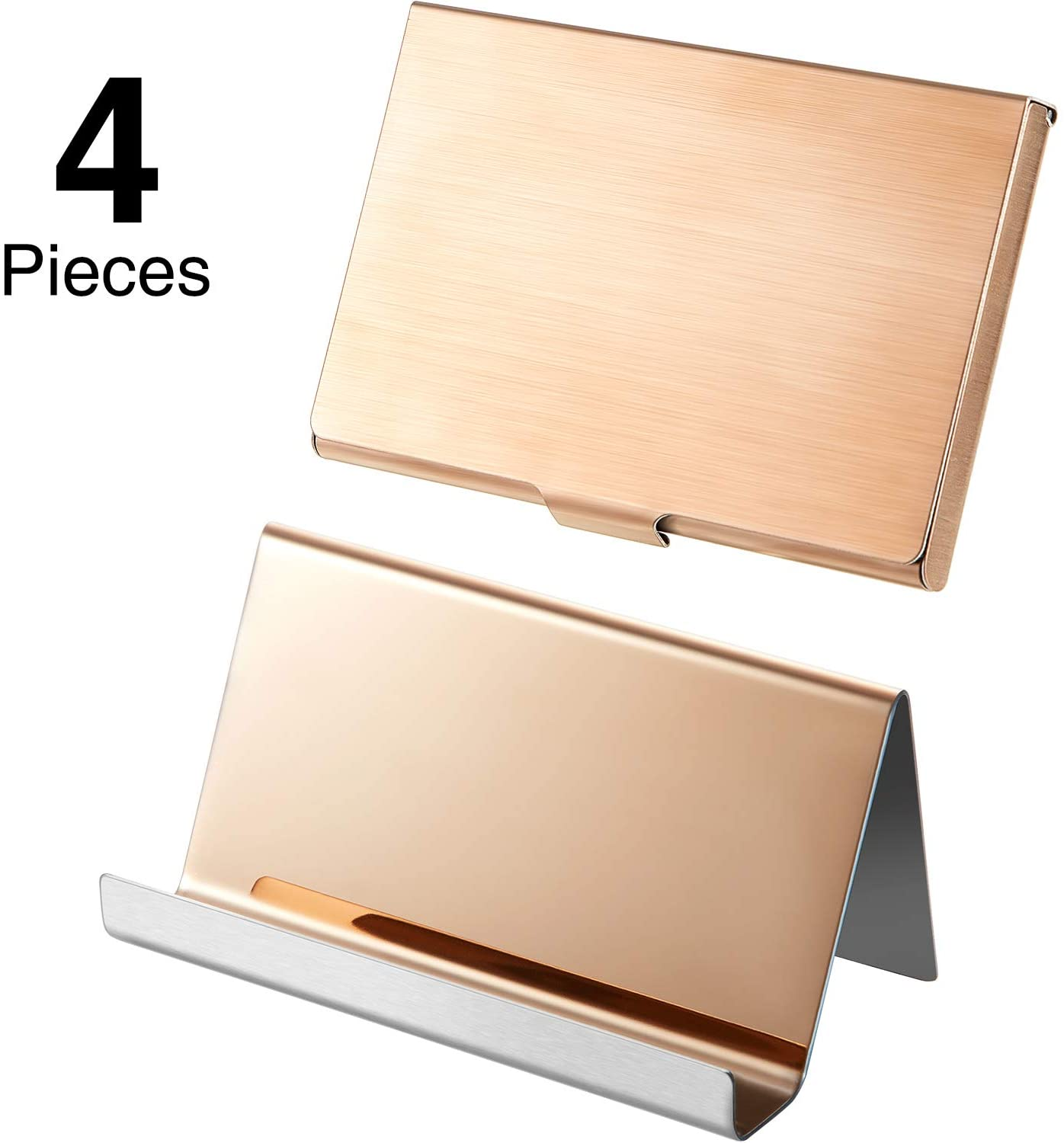 4 Pieces Stainless Steel Business Card Case Rose Gold Business Card Holder Desktop Card Display Stand for Card Displaying