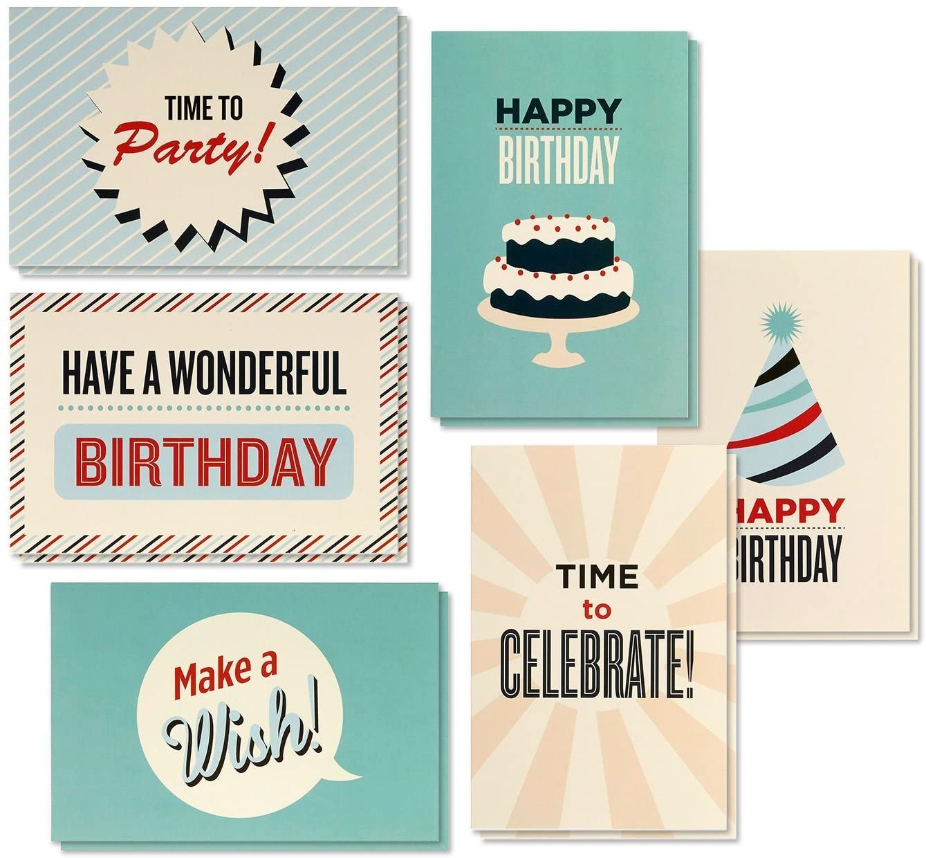 48-Pack Happy Birthday Cards Box Set with Envelopes, 6 Assorted Retro Party Designs, Blank Inside, for All Ages Men Women Kids Coworkers, 4 x 6 Inches