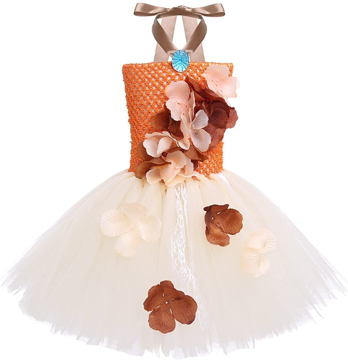 TiaoBug Kids Princess Halter 3D Flower Tutu Dress Costumes Mythical Halloween Birthday Party Cosplay Dress up