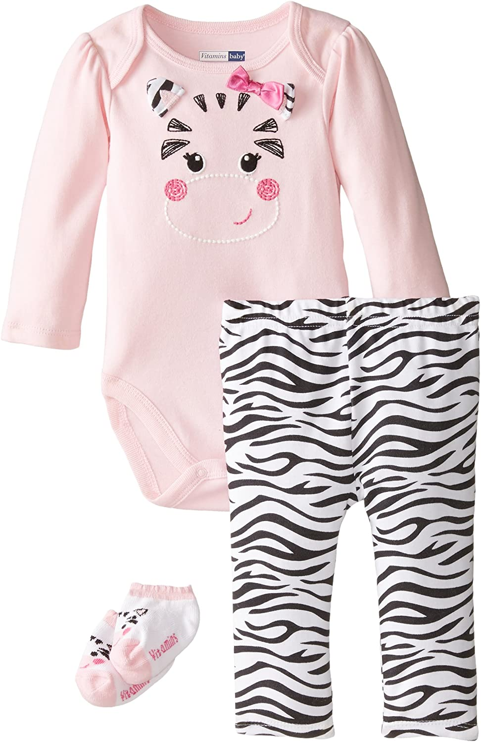 Vitamins Baby Baby Girls' Newborn Zippy Zebra 3 Piece Creeper Pant Set