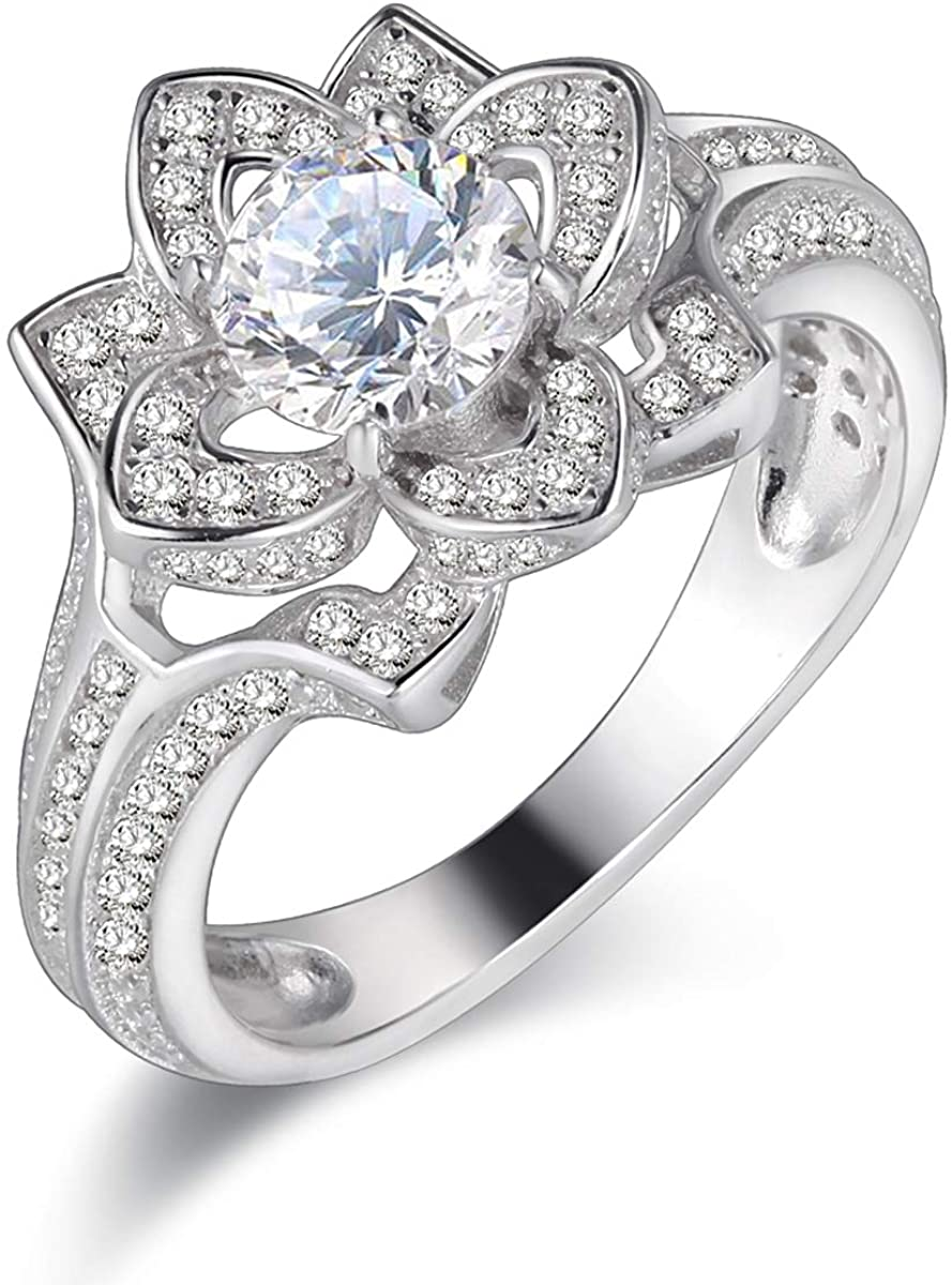 Newshe 2.5Ct Flower Wedding Engagement Ring for Women 925 Sterling Silver Round White Cz Size 5-10