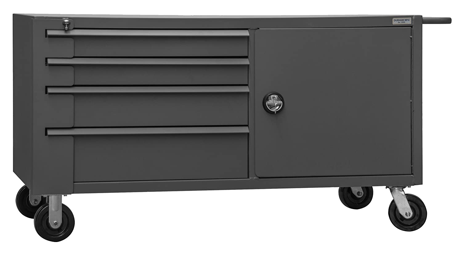 Durham 14 Gauge Steel Mobile Bench Cabinet with Fixed Shelf, Gray, 4000 lbs Load Capacity, 34