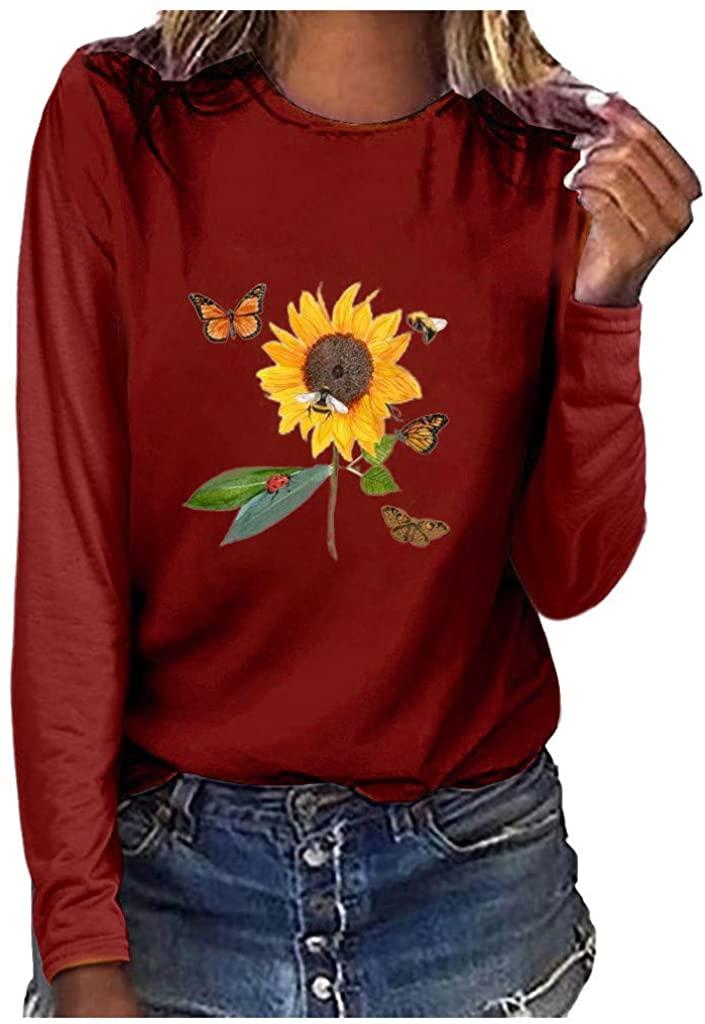 WINJUD Womens Sweatshirt Crewneck Long Sleeve Sweatshirt Flower Print Plus Size Top