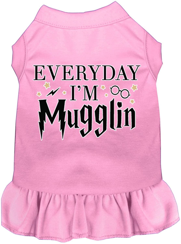 Mirage Pet Product Everyday I'm Mugglin Screen Print Dog Dress Light Pink XL (16)