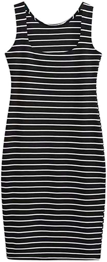 Mlide Womens Summer Sleeveless Dress Fashion Stripe Round Neck Casual Gown 2020 New Beach Midi Dress