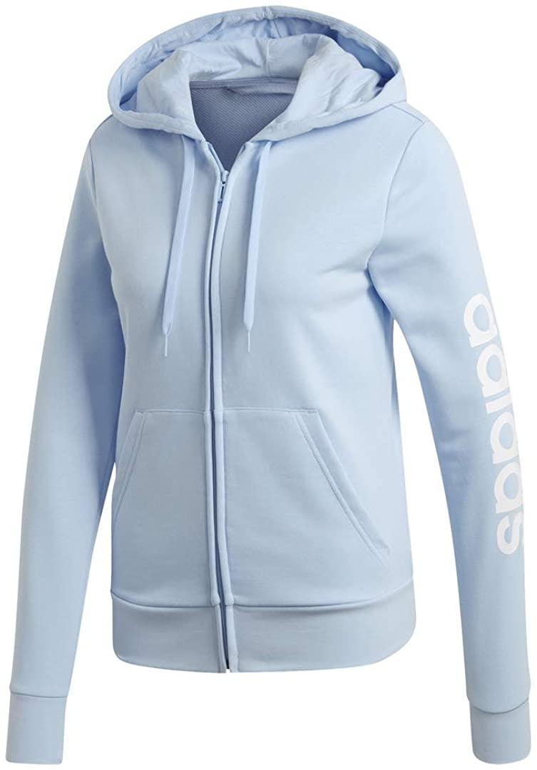 adidas womens Essentials Linear Full-zip Hoodie Sweatshirt