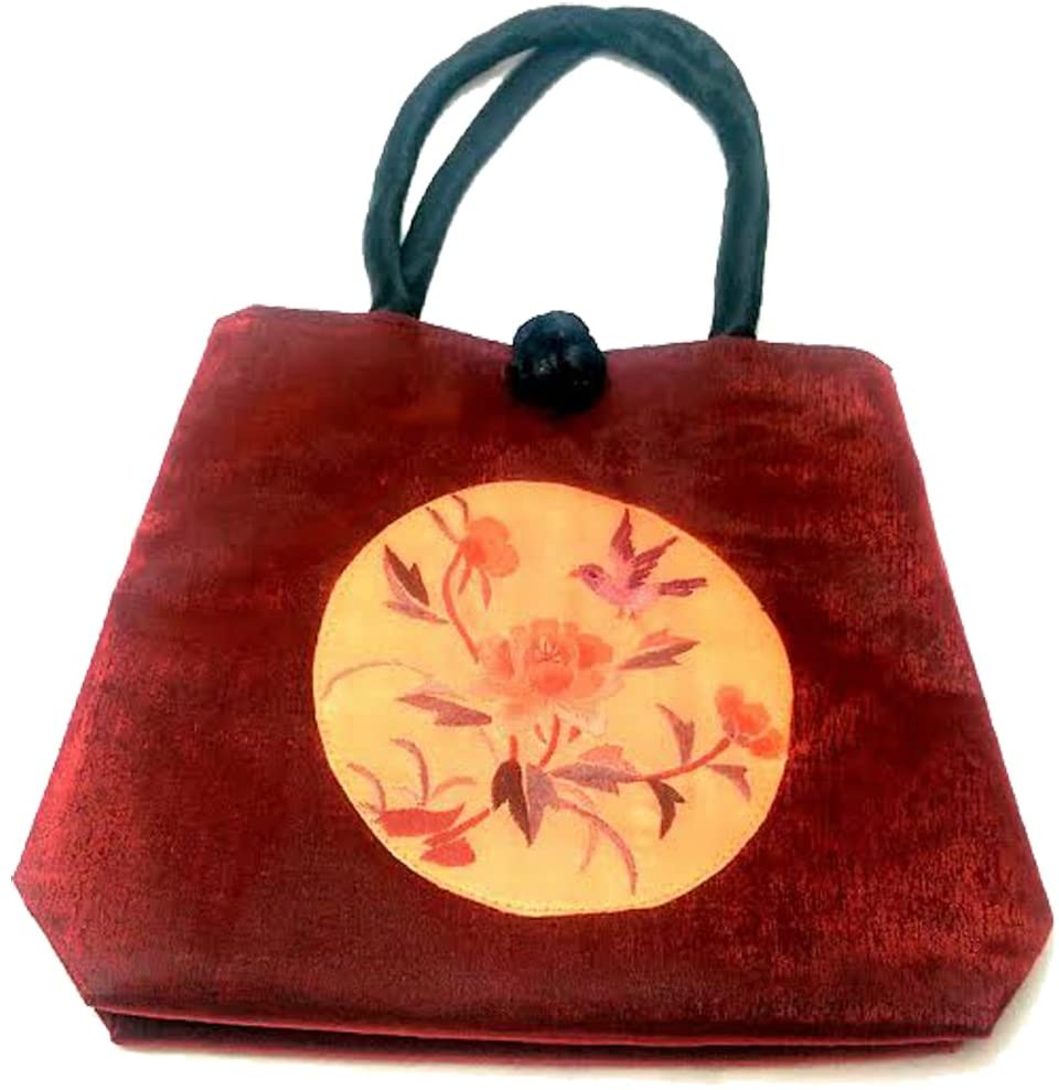 Asian Handbag with Shiny RED Color and Embroidered Bird Design
