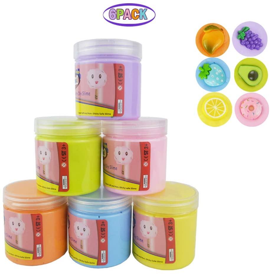 zoneway 6 Pack Butter Slime Kit with Avocado Slime,Strawberry Slime,Grape Slime, Donuts Slime,Lemon Slime,Mango Slime,Super Soft Toy for Kids