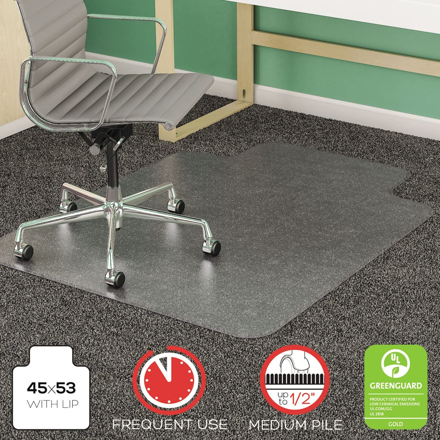 DEFCM14233 - SuperMat Frequent Use Chair Mat for Medium Pile Carpet