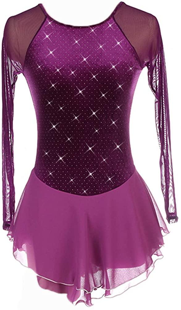 Figure Skating Dress Girls Purple Panty Setted Rhinestones Long Sleeves Women Skate Dance Costumes