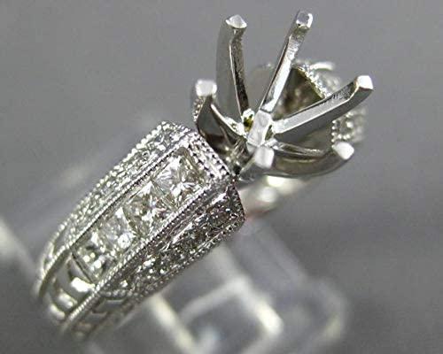 WIDE .52CT DIAMOND 18KT WHITE GOLD 3D FILIGREE SEMI MOUNT ENGAGEMENT RING