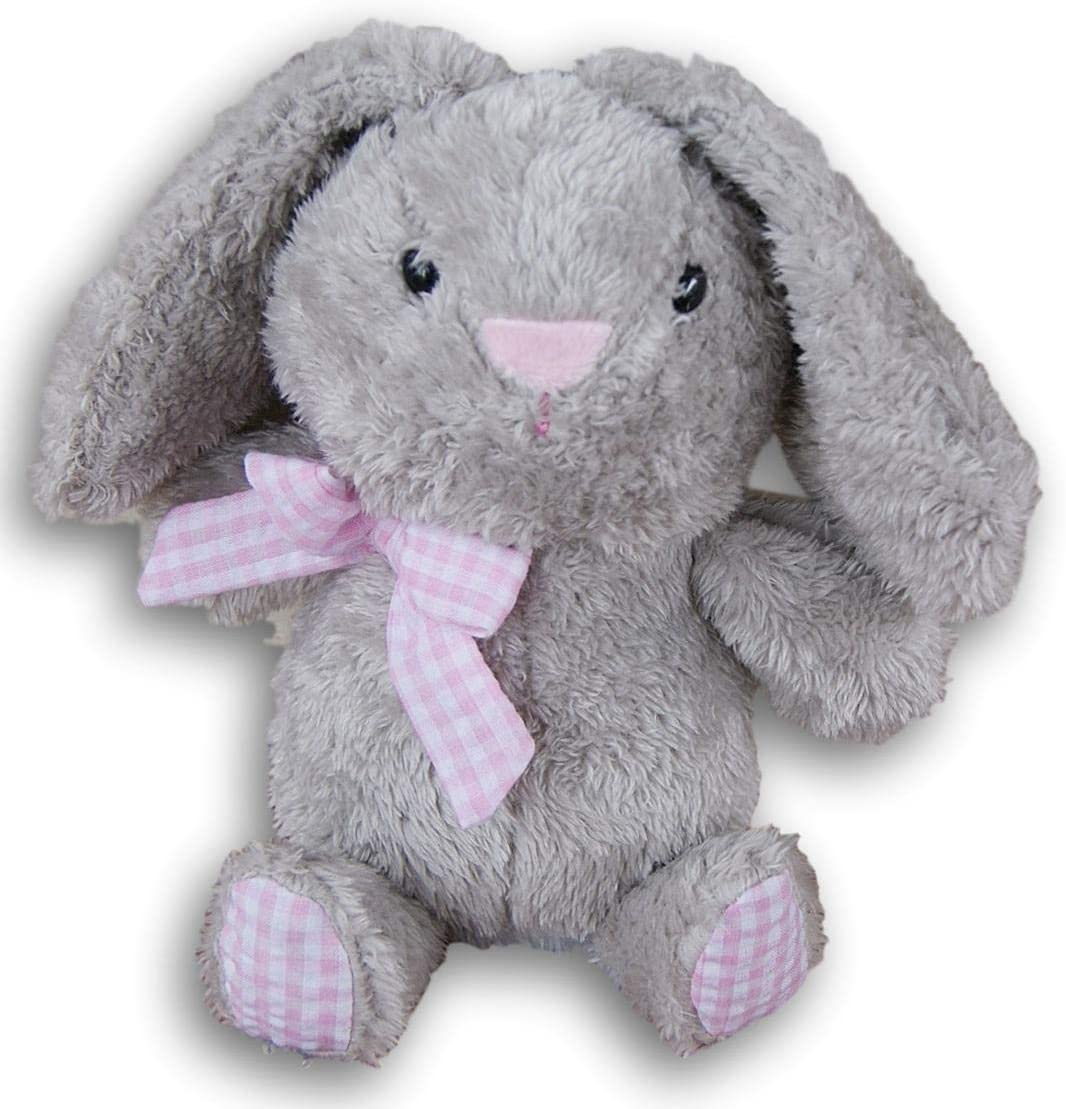 Super Soft Gray Plush Bunny Rabbit with Bow - 13 Inches Tall