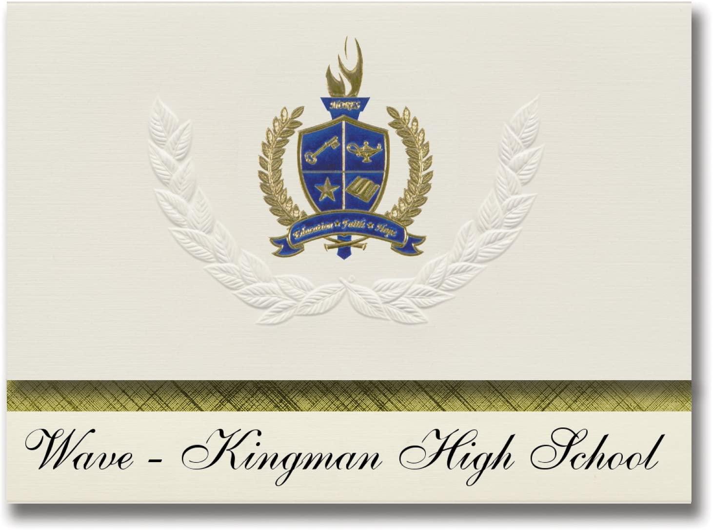 Signature Announcements Wave - Kingman High School (Kingman, AZ) Graduation Announcements, Presidential style, Elite package of 25 with Gold & Blue Metallic Foil seal