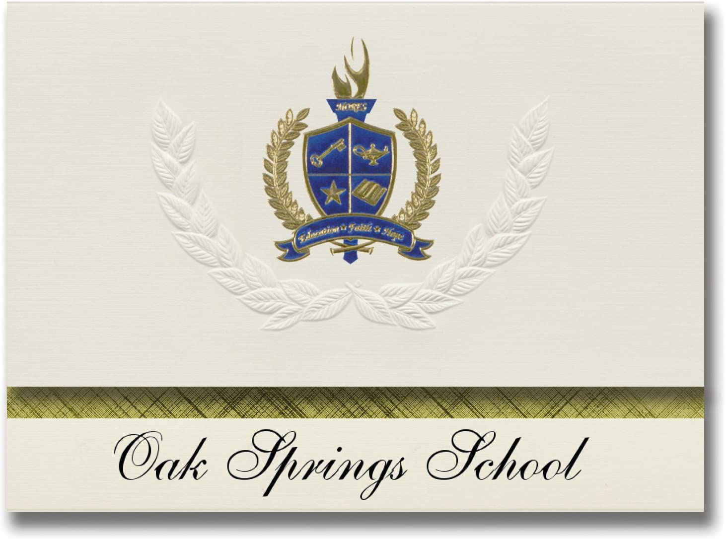 Signature Announcements Oak Springs School (Provo, UT) Graduation Announcements, Presidential style, Basic package of 25 with Gold & Blue Metallic Foil seal