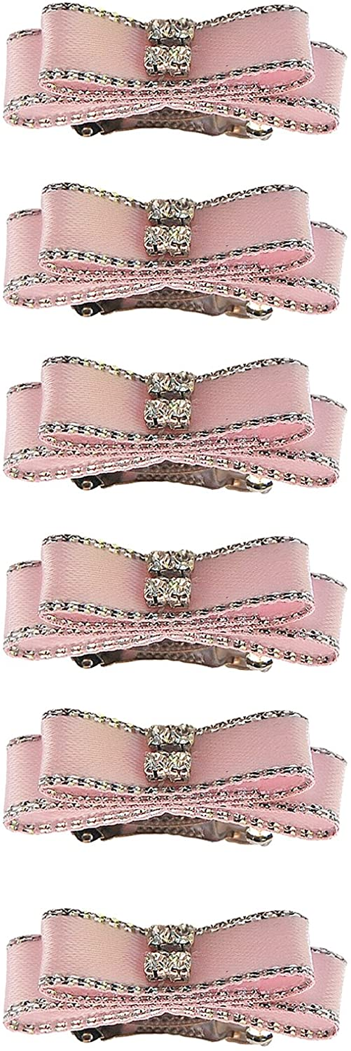 Anima Satin Double Bow with Rhinestones Dog Bow, French Style Barrette Clip, Pink [6 per pack]