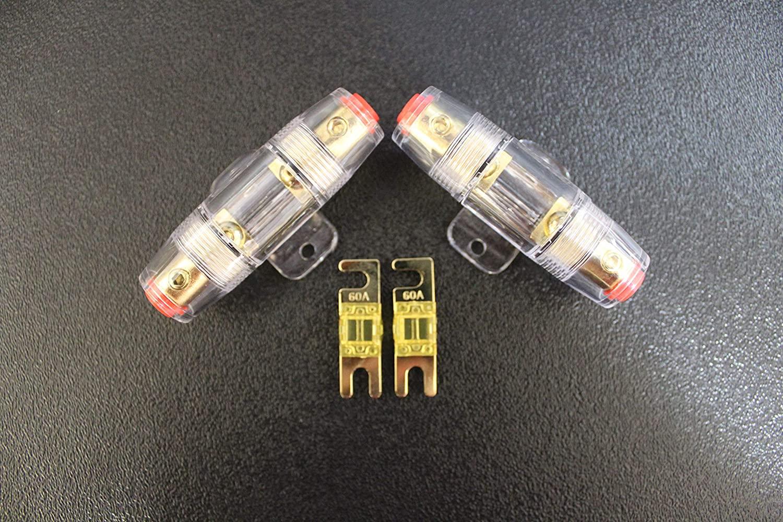 (2) Mini ANL Fuse Holder W/ (2) 60 AMP Fuse 4 6 8 10 Gauge AFC MIDI FUSES HIGH Audio