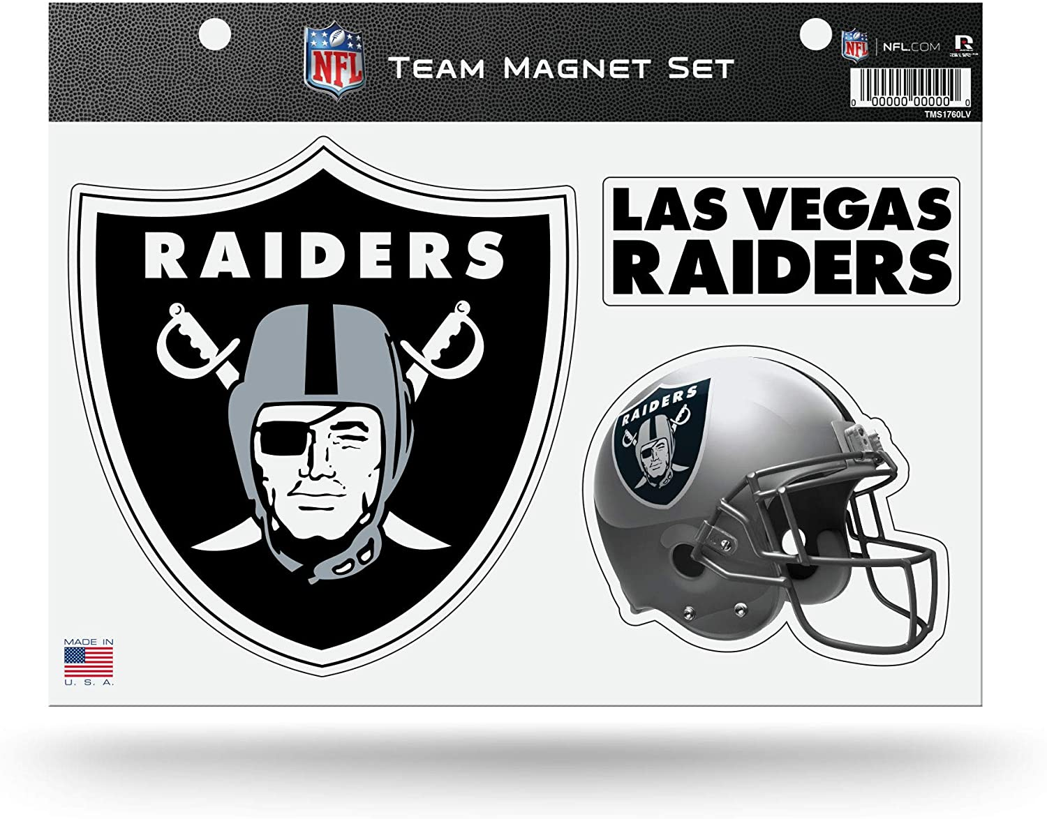 Rico Industries NFL Las Vegas Raiders Die Cut Team Magnet Set Sheet, Black, 8.5 x 11-inches