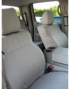 Durafit Seat Covers, Made to fit 2004-2008 F150 Crew Cab and Lincoln Mark LT Front Buckets Seats with Adjustable Headrests. Seat Belts are Not Integrated in Gray Waterproof Endura
