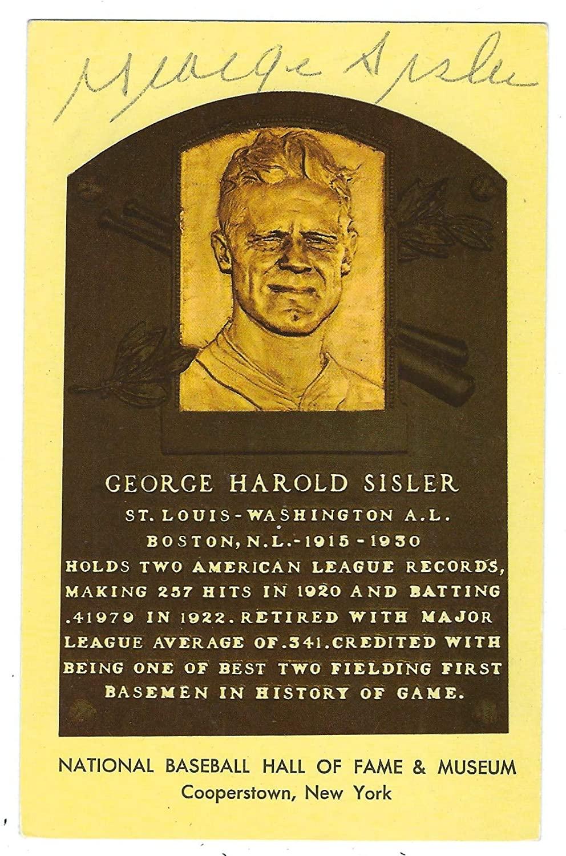 Autographed George Sisler Hall of Fame Gold Plaque