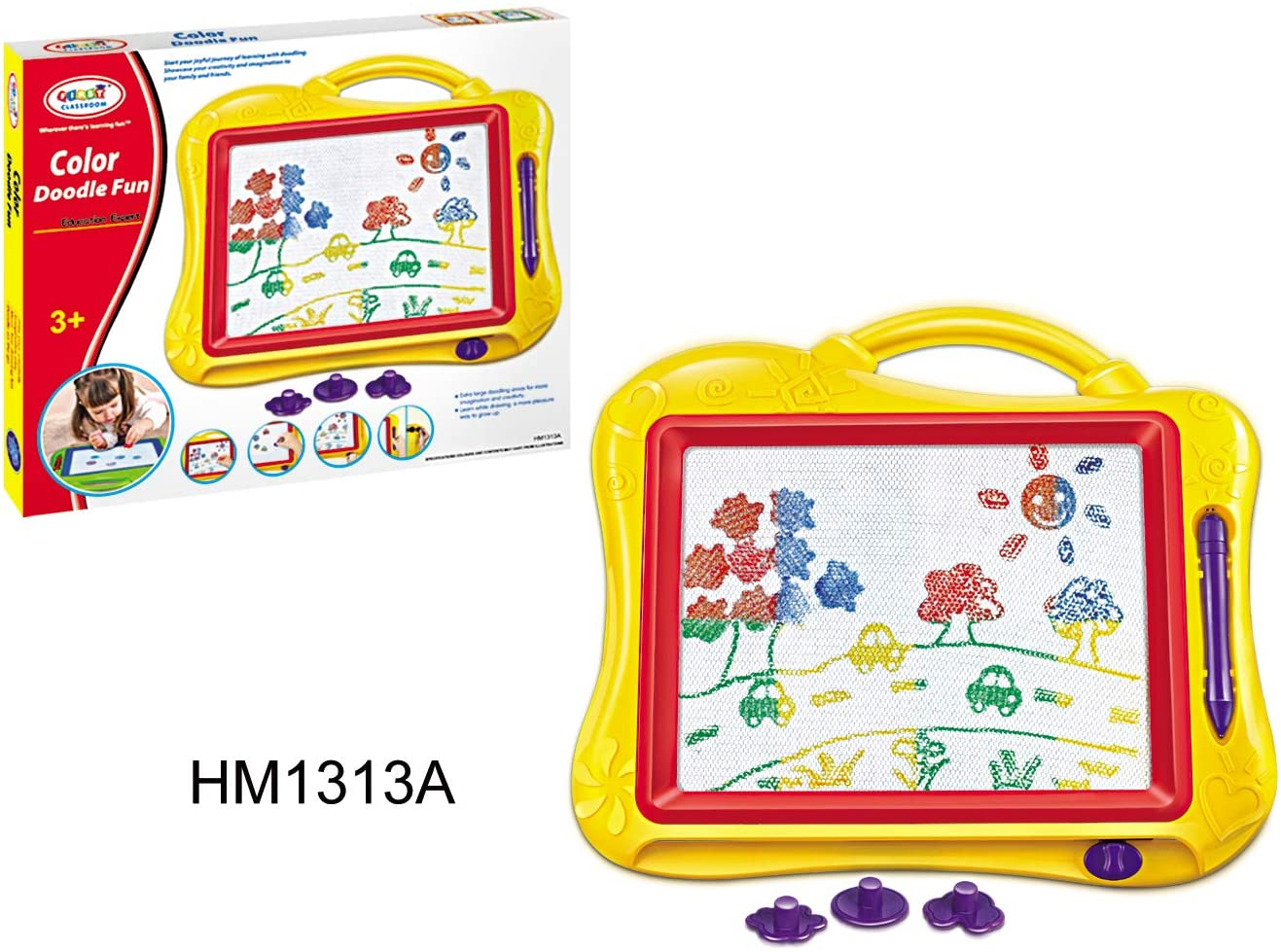 First Classroom Portable Magnetic Drawing Doodle Board - Learning Education Fun Activity Playset - Multicolor Writing Learning Tool - Touch and Stimulation - Sketch Pad Toy (Yellow)