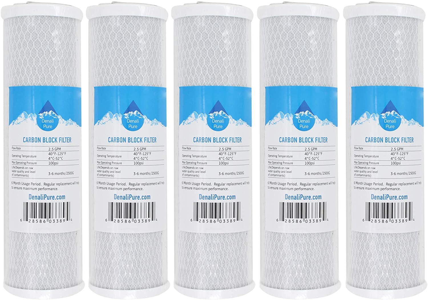 5-Pack Replacement for Hydronix HF3-10CLBK34 Activated Carbon Block Filter - Universal 10 inch Filter Compatible with Hydronix HF3-10CLBK34 10