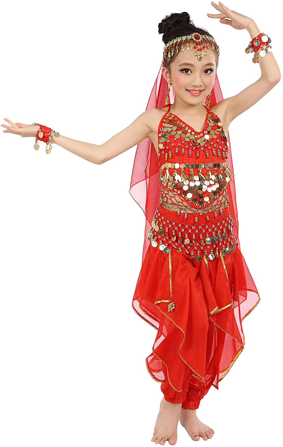 Maylong Girls Loose Pants Belly Dance Outfit Halloween Costume DW07(Medium, red)