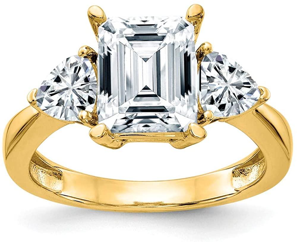 14k Yellow Gold Three Stone Engagement Ring Moissanite (2.15 cttw.)