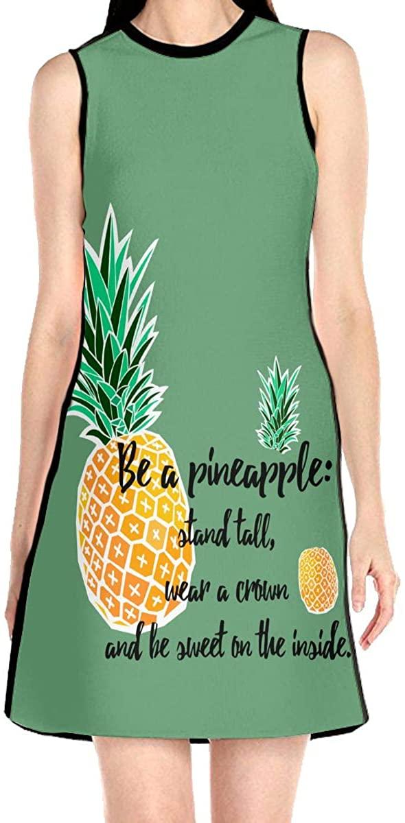 VJH-YY Be A Pineapple Women's Sleeveless Dress Casual Slim A-Line Dress Tank Dresses