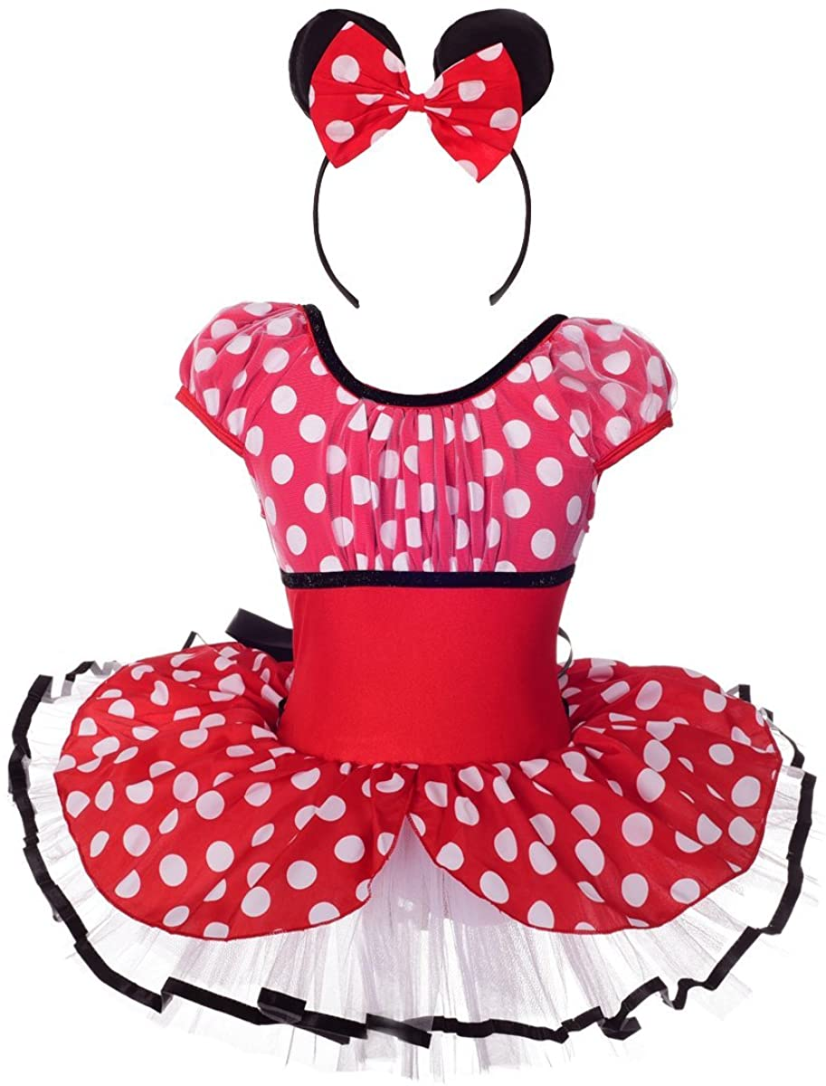 Lito Angels Girls Polka Dots Dress Up Costume Outfit Fancy Party Dress Dancewear with Headband