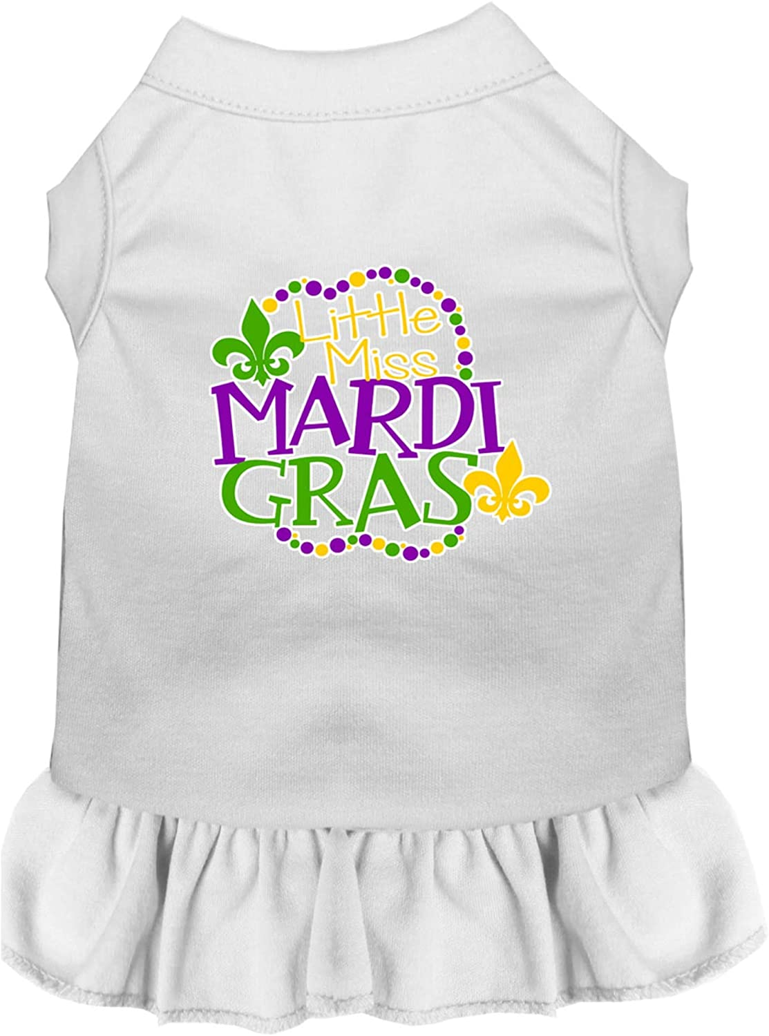 Mirage Pet Product Miss Mardi Gras Screen Print Mardi Gras Dog Dress White Med