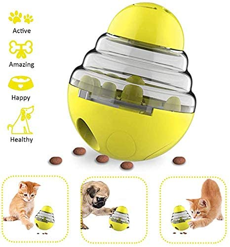 XFSD Dog Cat Tumbler Treat Ball Slow Feeder Toy, Shaking Food Automatic Leaking Balls Pet Food Dispenser Puzzle Toy for Dog Cat Natural Instinct Fulfillment IQ Active Stimulation