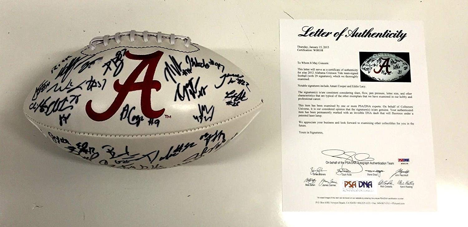 2012 Alabama Crimson Tide Team Signed Football Loa Eddie Lacy +28 W08108 - PSA/DNA Certified - 5