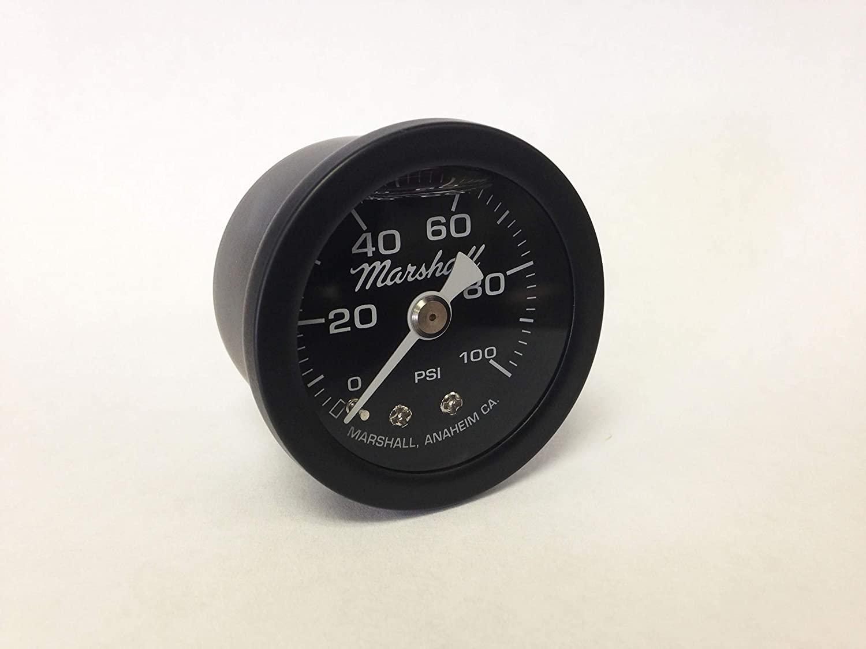 Marshall Instruments MSB00100 Liquid Filled Fuel/Oil Pressure Gauge Black