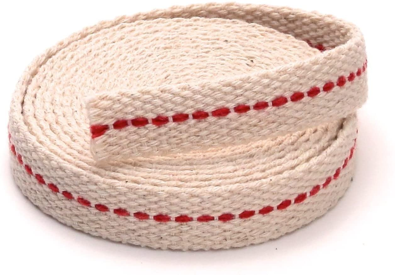 Light Of Mine 1/2 Inch 100% Cotton Flat Wick 6 Foot Roll for Paraffin Oil or Kerosene Based Lanterns and Oil Lamps with Genuine Red Stitch (1/2)