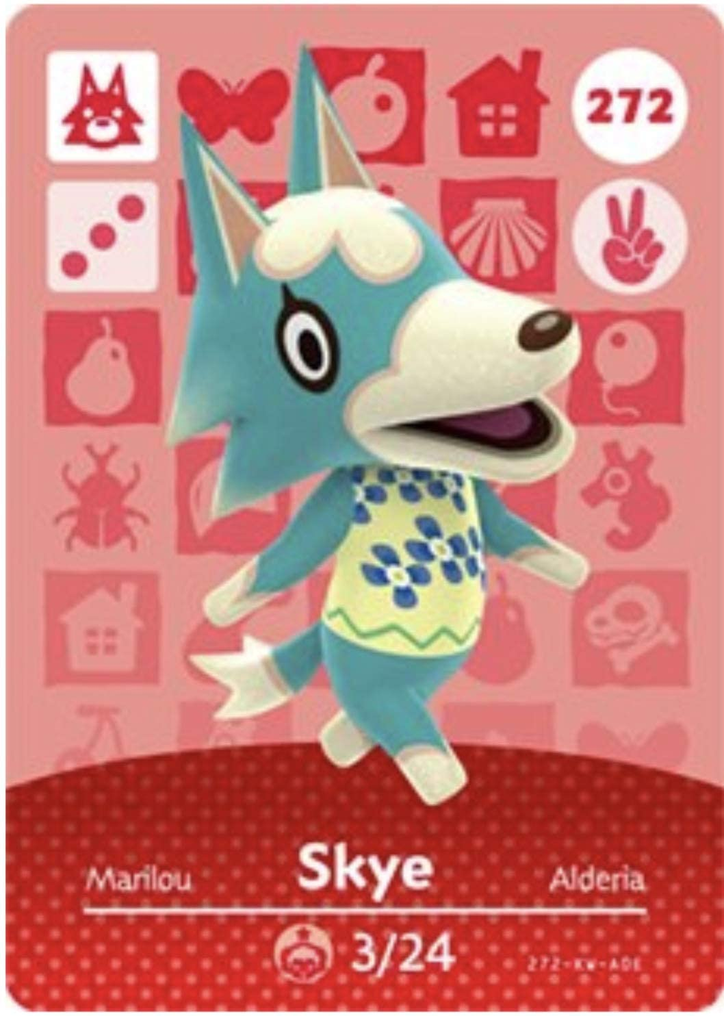 No.272 Skye Animal Crossing Villager Cards Series 3. Third Party NFC Card. Water Resistant