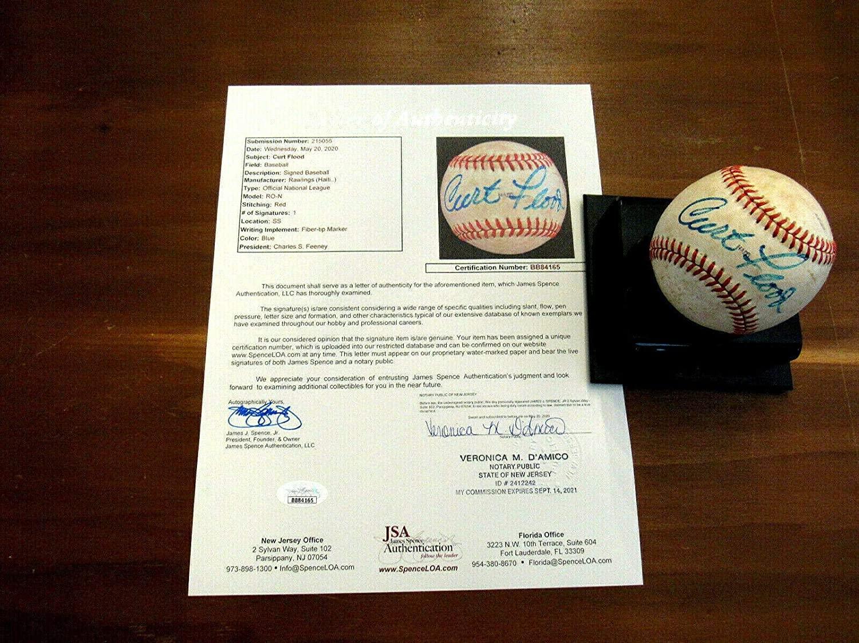 Autographed Curt Flood Ball - 2 X Wsc Redlegs Vintage Feeney Loa - JSA Certified - Autographed Baseballs