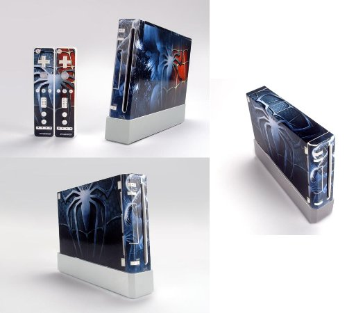 Spider Man Skin Sticker Cover For Nintendo WII Console and 2 Remotes