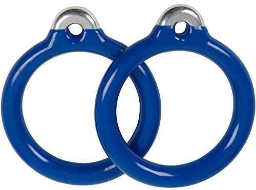 Swing Set Stuff Commercial Round Trapeze Rings with SSS Logo Sticker, Blue