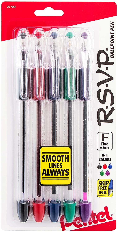Pentel R.S.V.P. Ballpoint Pen, Fine Line, (0.7mm), Assorted Ink, Clear Barrel, 5 Pack (BK90BP5M)