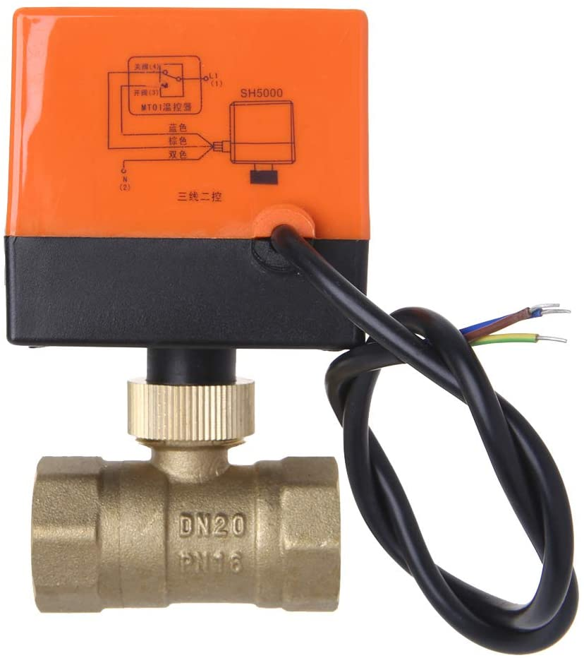 Reinly Water Valve, Electric Motorized Brass Ball Valve DN20 AC 220V 2 Way 3-Wire with Actuator