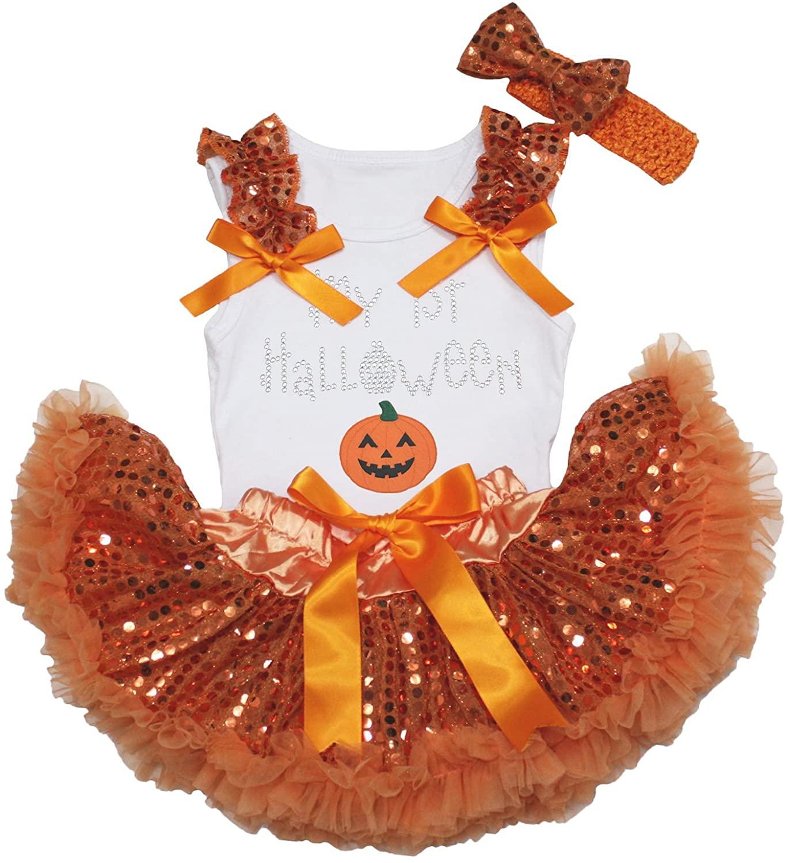Petitebella My 1st Halloween Pumpkin White Shirt Orange Sequins Baby Skirt 3-12m