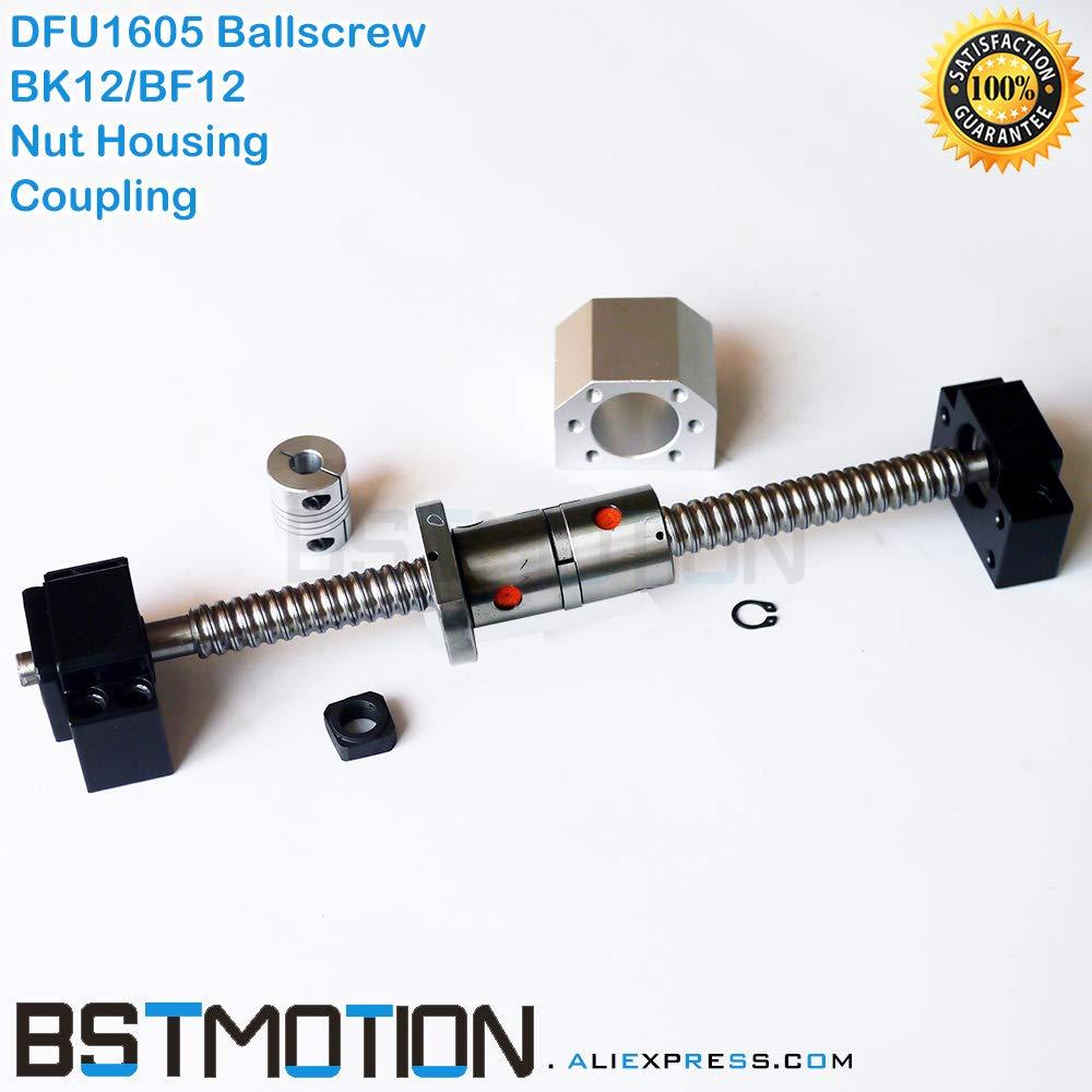 Ochoos DFU1605 Ballscrew 1605 300mm 400 500mm 600mm 700 750mm 800 900 1000mm 1100mm 1200mm 1500mm Double Ball Screw BK12 BF12 + Coupler - (Guide Length: 365mm)