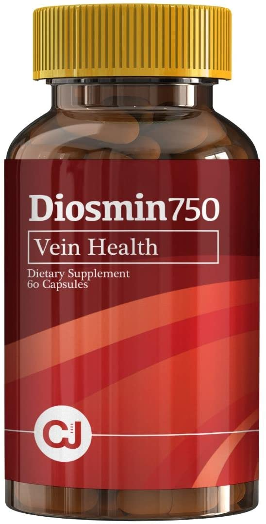 DIOSMIN 750mg Circulation and Vein Support (60 Capsules Bottle) Pure Diosmin not Mixes. Helps Promote Lymphatic Drainage, Supports Veins, Capillaries and Circulation