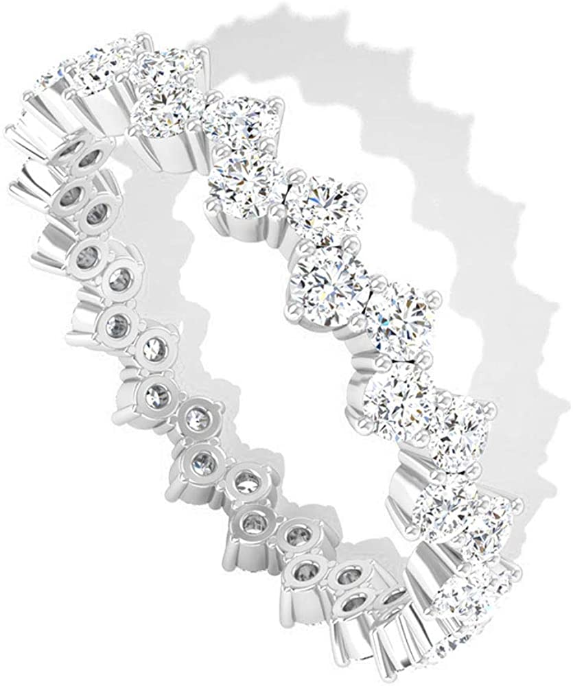 1.14 CT IGI Certified Diamond Cluster Anniversary Ring, Bridal Wedding Zig-Zag Stackable Promise Ring, Mother Day Matching Full Eternity Ring Set Gift, 14K White Gold, Size:US 6.5