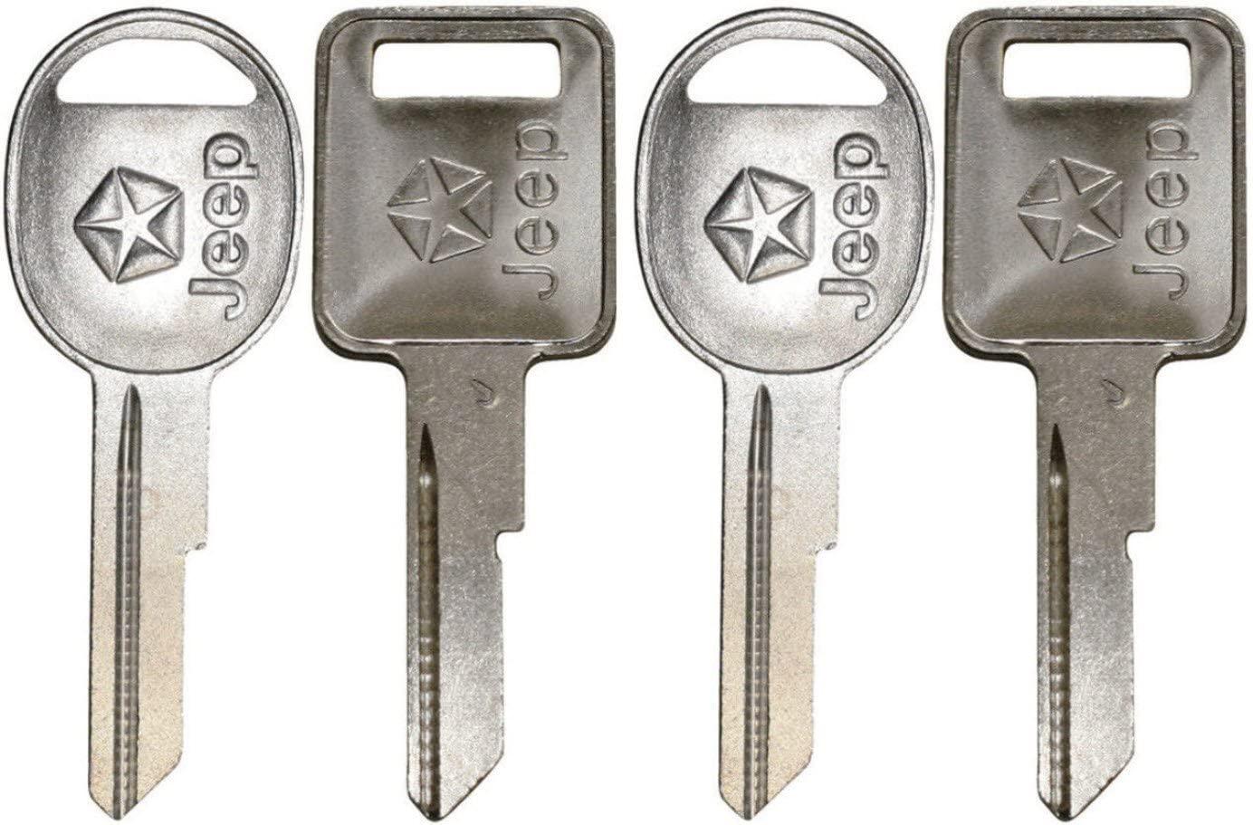 321815 X2 + 321816 X2, 4 NEW Jeep Logo OEM IGNITION + DOORS/TRUNK Key Blanks Uncut 321815 + 321816