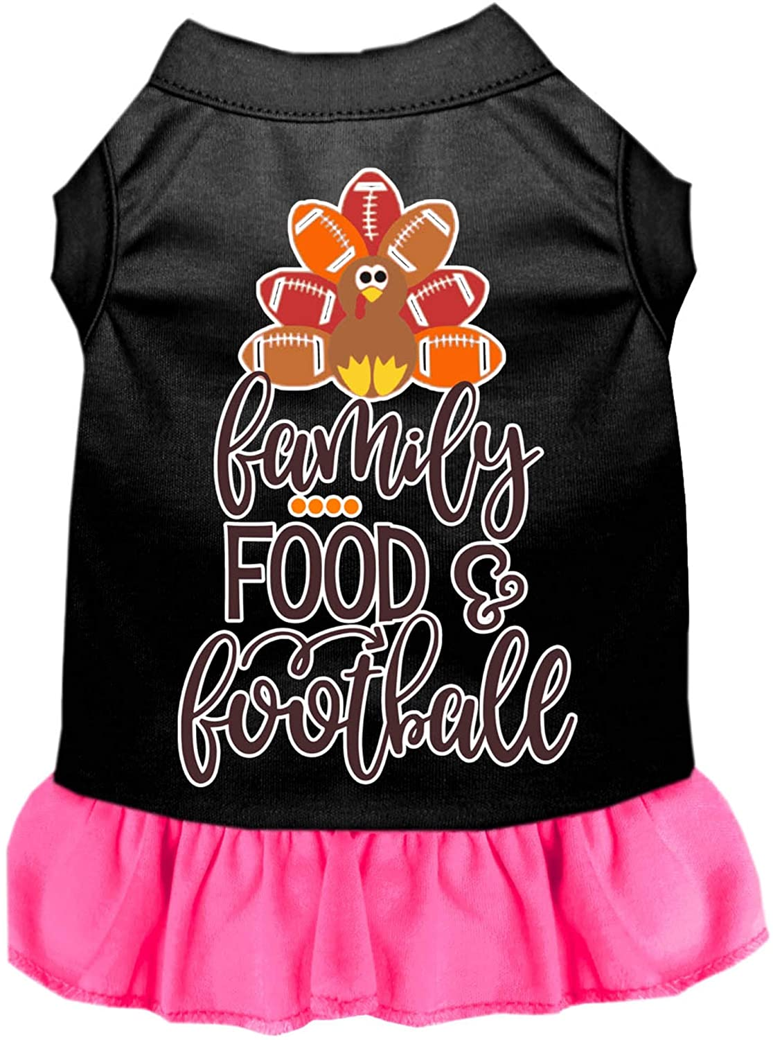 Mirage Pet Product Family, Food, and Football Screen Print Dog Dress Black with Bright Pink XL